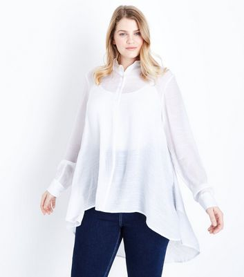 Curves White High Neck Dipped Hem Shirt