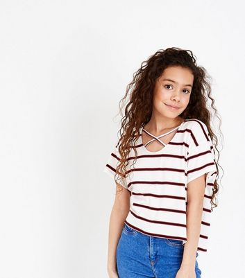 Teens White Stripe Lattice Front T-Shirt