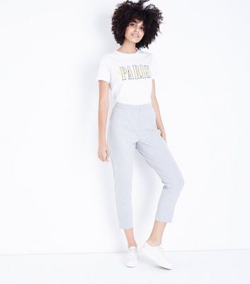 Pale Grey Slim Leg Trousers