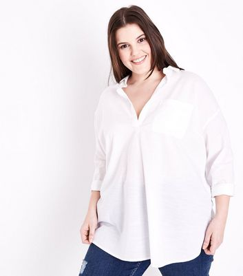 Curves White Woven Cotton Overhead Shirt