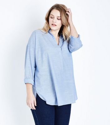 Curves Blue Woven Cotton Overhead Shirt