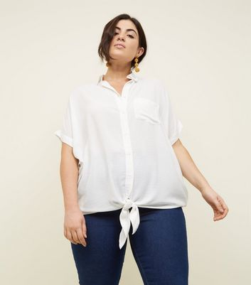 Curves Off White Woven Tie Front Shirt