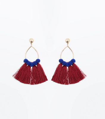 Gold Tassel and Pom Pom Trim Teardrop Earrings