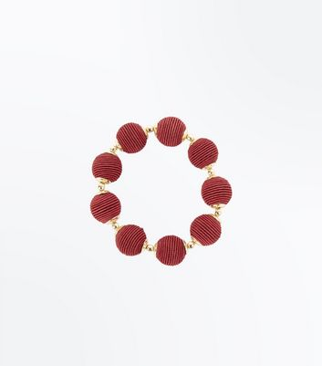 Burgundy Wrapped Bead Bracelet