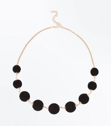 Black Textured Orb Necklace