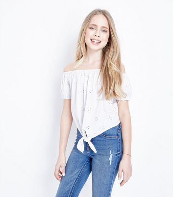 Teens White Broderie Tie Front Top