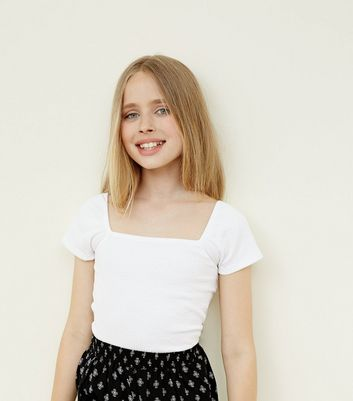Teens White Square Neck Top