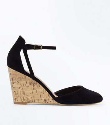 Black Suedette Cut Out Two Part Wedges