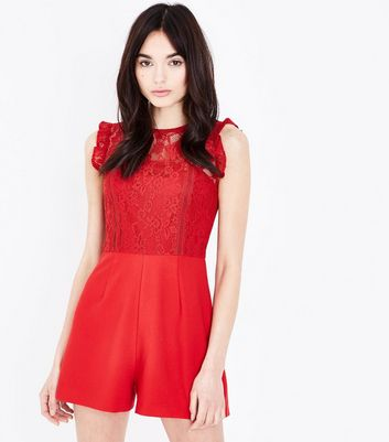 Red Lace Bodice Playsuit