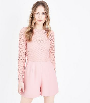 Pale Pink Crochet Long Sleeve Playsuit