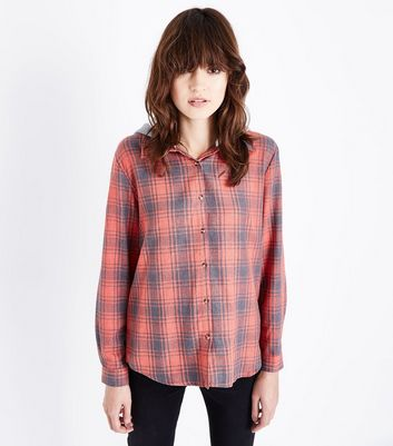 Apricot Orange Hooded Check Shirt