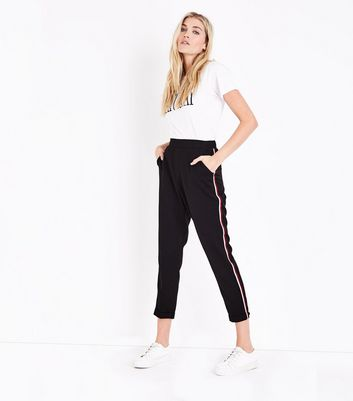Black Side Stripe Tapered Trousers