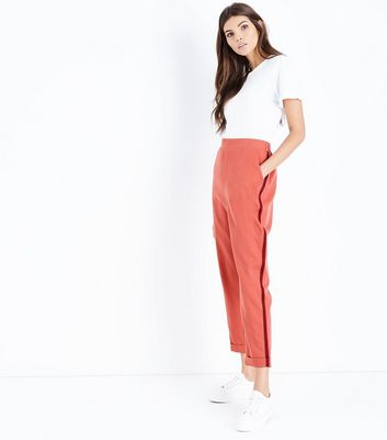 Mid Pink Side Stripe Tapered Trousers
