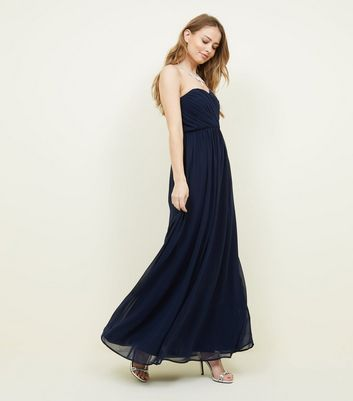 Navy Chiffon Strapless Maxi Dress by New Look