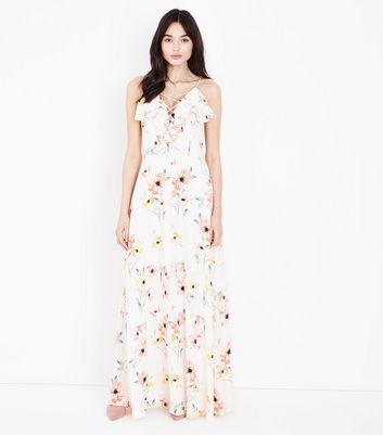 White Floral Lattice Front Ruffled Maxi Dress