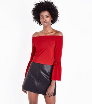 Red Bell Sleeve Bardot Neck Top