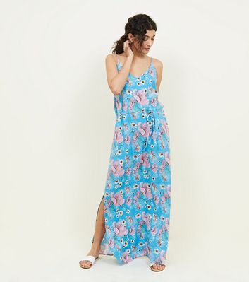 Jdy Blue Floral Split Side Maxi Dress by New Look