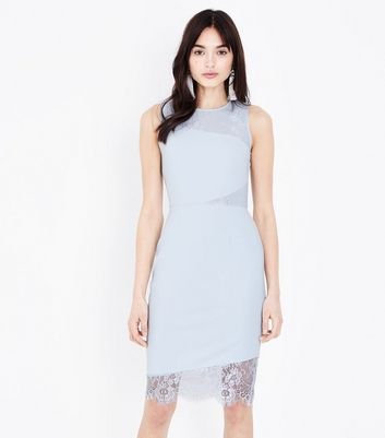 Pale Blue Lace Panel Bodycon Dress