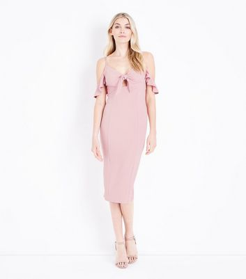 Pale Pink Cold Shoulder Tie Front Midi Dress