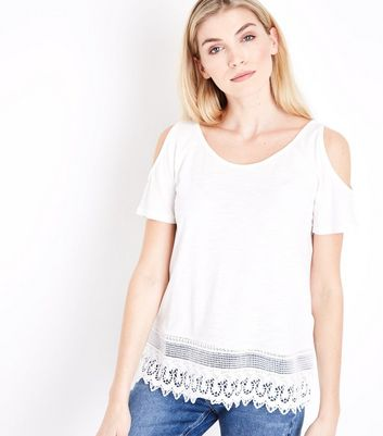 White Crochet Hem Cold Shoulder T-Shirt
