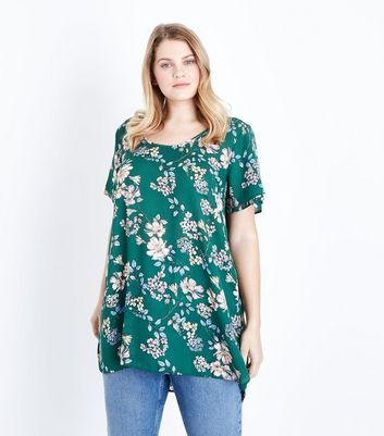 Curves Green Floral Print Dip Hem Top