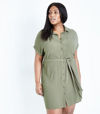 Curves Olive Green Belted Shirt Dress