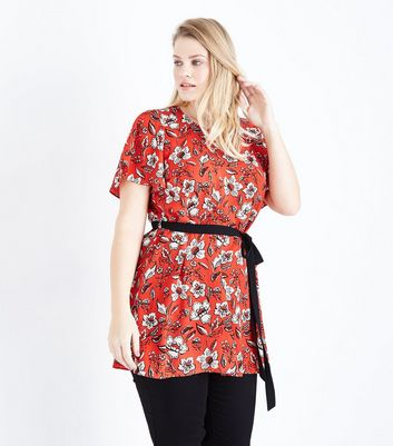 Curves Red Floral Belted Tunic Top