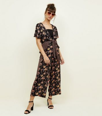 Black Floral Side Stripe Cropped Wide Leg Trousers