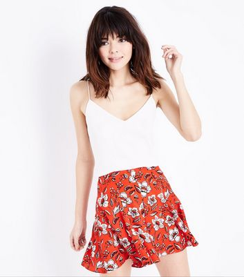 Red Floral Pleated Shorts