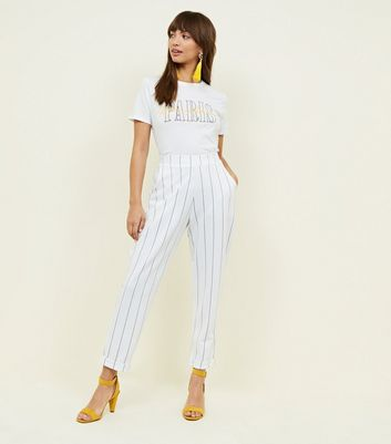 White Stripe Tapered Trousers