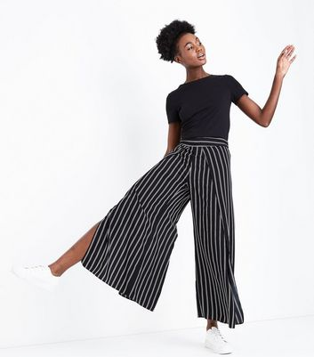 Black Stripe Wrap Wide Leg Trousers