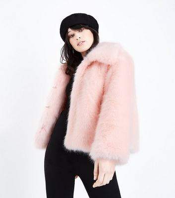 Cameo Rose Pink Collared Faux Fur Jacket