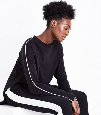 Black Stripe Sleeve Longline T-Shirt