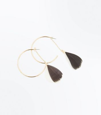 Black Feather Chain Hoop Earrings