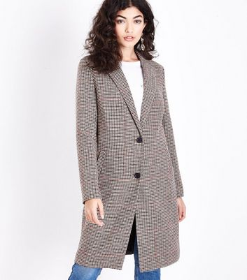 Brown Houndstooth Check Longline Coat