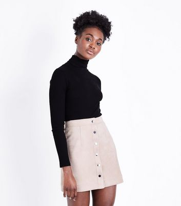 Stone Button Front Suedette Mini Skirt
