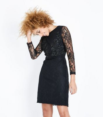 Blue Vanilla Black Lace Embellished Sequin Dress