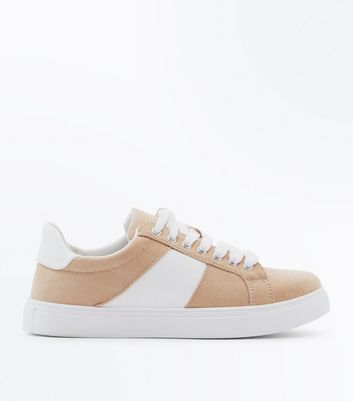Teens Pink Suedette Contrast Panel Trainers
