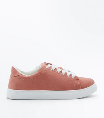 Girls Pink Suedette Trainers