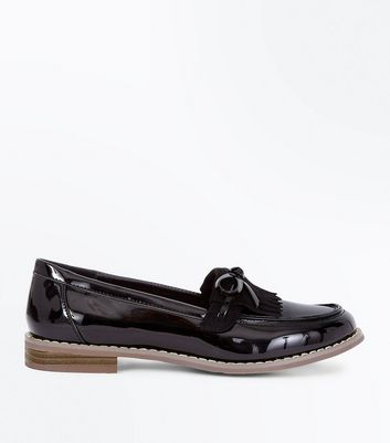 Teens Black Patent Bow Front Loafers