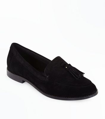 Girls Black Suede Tassel Trim Loafers