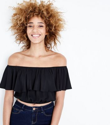 Black Frill Bardot Neck Crop Top