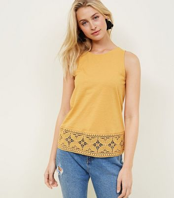 Tall Mustard Crochet Hem Vest Top