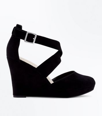 Wide Fit Black Comfort Suedette Strappy Wedges
