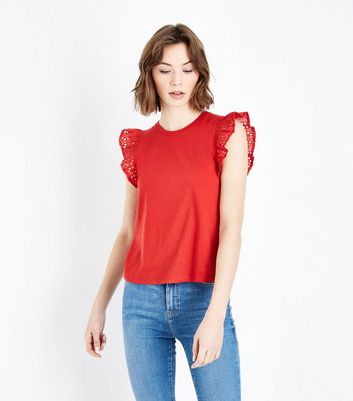 Red Broderie Frill Trim Vest
