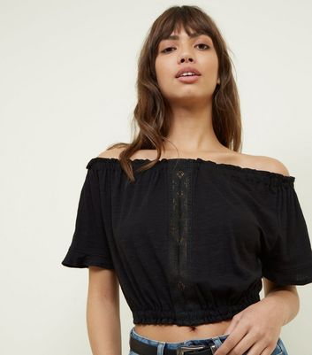 Black Lace Trim Bardot Crop Top by New Look