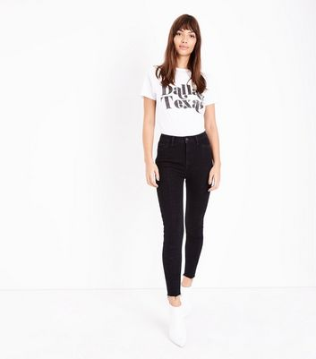 Black Hem Front High Rise Super Skinny Jeans