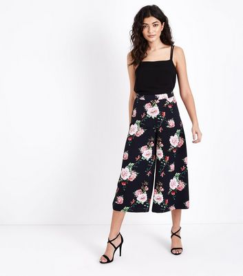 Black Floral Cropped Wide Leg Trousers