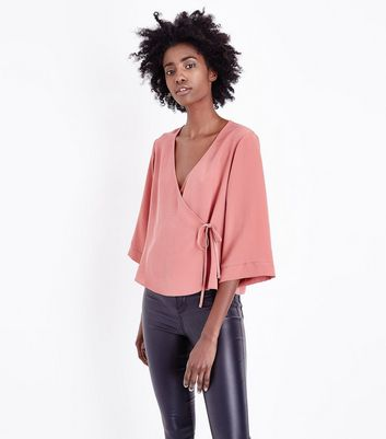 Mid Pink Wrap Front Top