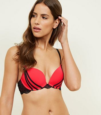 Red Strappy Lace Trim Push-Up Bra